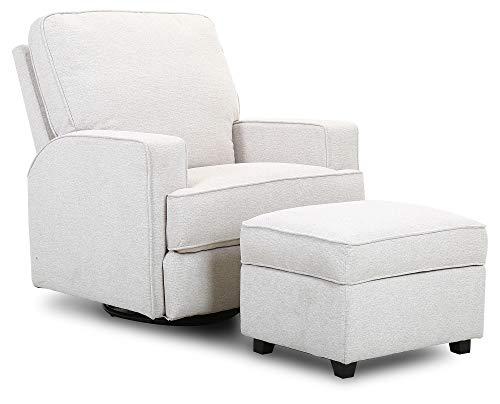 Amazon Brand – Ravenna Home Contemporary Swivel Glider Accent Chair with Storage Ottoman, 33.9