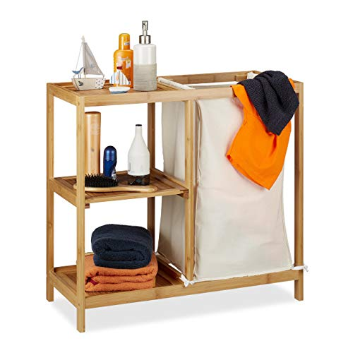 Relaxdays Badregal mit Wäschekorb, 3 Ablagen, herausnehmbarer Wäschesack, offenes Bambusregal, HxBxT 65x68x33 cm, Natur