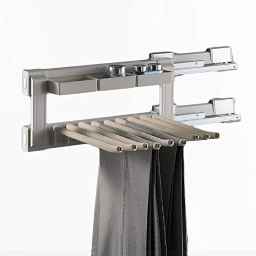 Perchero Armario tire de los pantalones de rack, Guardarropa Accesorios lado de carga pantalones de rack, Armario de almacenamiento en rack Escudo Vestidor la suspensión de ropa ( Color : White )