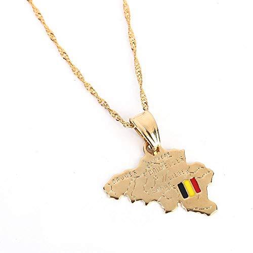 Kkoqmw Collar de Mapa de Bélgica de Color Dorado