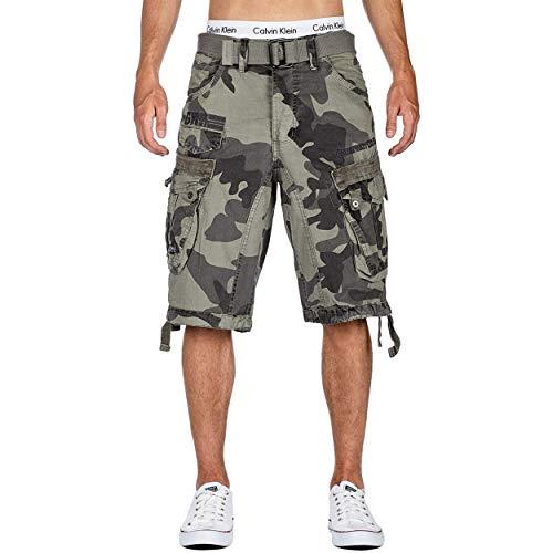 Geographical Norway Panoramique Men - Bermudas Short Algodón Fit - Pantalones Cortos Deportivos para Hombres - Shorts Cortos Cinturón - Bermuda Ajuste Normal Cómodo Gris Camuflaje M