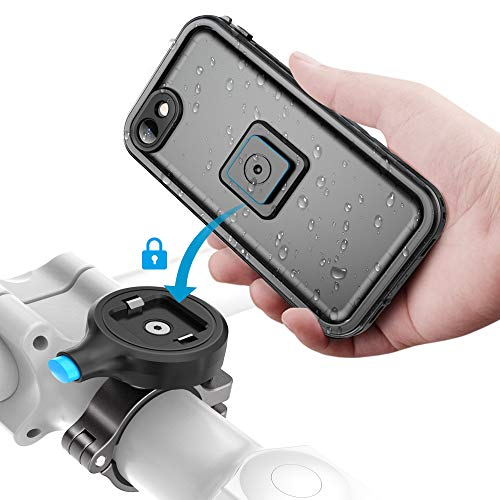 Sokusin Metall Fahrrad Halterung Handyhalter Motorrad,wasserdichte Fahrradhülle für iPhone SE 2/7/8,Aluminiumlegierung One Second Release Fahrradhalter,Motorrad Lenker Halterung (für iPhone SE 2/8/7)