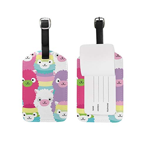 Colorful Lama Luggage Tag Travel ID Label Leather for Baggage Suitcase 1 Piece