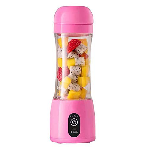 Horen - Licuadora portátil de 400 ml, recargable, portátil, licuadora de 6 aspas, licuadora, licuadora, licuadora, mini jugo rosa