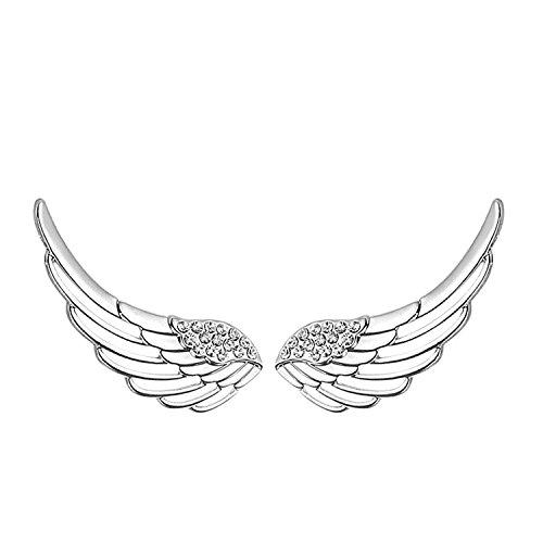 925 plata esterlina oído puños Cristal Pendientes del ángel de guarda del...