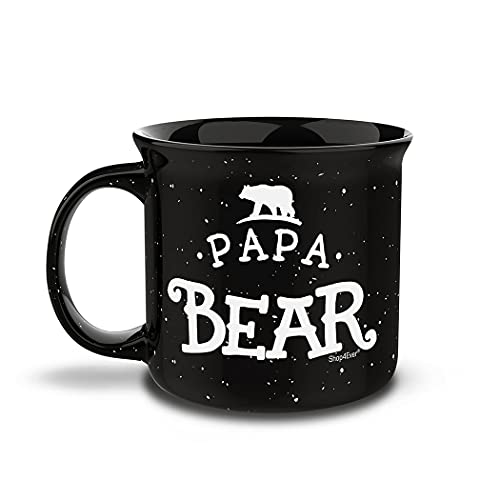 Shop4ever Papa Bear Campfire Speckled Ceramic Coffee Mug 15 oz