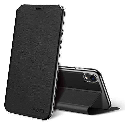 X-level Cover iPhone XR, Custodia per Apple iPhone XR Pelle PU Flip Custodia Protettiva Pieghevole per iPhone XR - Nero