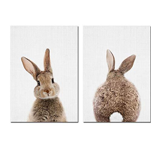 "LELME Leinwand Malerei Poster Waldtier Wandkunst Bild Bunny Rabbit Tail Nursery Druckbilder Kinder Baby Zimmer Dekor 20x30cm (7,8""x11.8) x2 Kein Rahmen"