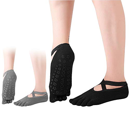 Dokpav 2 Pares Calcetines Antideslizantes ABS para Mujer Calcetines de Algodón para...