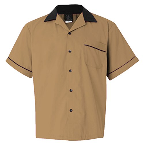 Candow Look Moda Hombre Camisa 60s Retro Design Men Shirt Brown-L