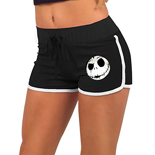 Lucky Night Nightmare Before Christmas Women Summer Pajama Sports Shorts Gym Workout Fitness Shorts Pants,Black,L