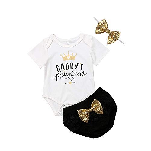 Conjunto de 3PC de Verano para Niñas Bebés Recién Nacidas Mameluco con Estampados de Letras y Coronita Pantalones Triangulares y Diadema con Decoración de Lazo