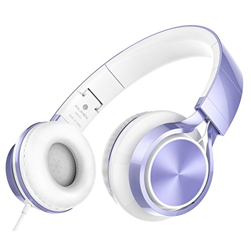 AILIHEN MS300 Kopfhörer Faltbare Stereo Faltbare On Ear Wired Headset 3.5mm für Android Smartphone Laptop Tablet PC Computer (Violett)