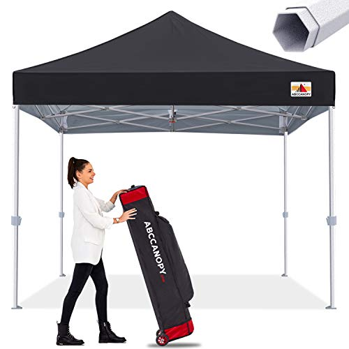 Premium Pop Up Canopy Tent 10x10 Commercial Instant Shelter, Bonus Wheeled Carry Bag and 4 Sand Bags, Black