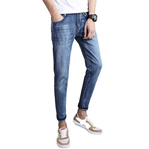 Wantess Jeans Ajustados elásticos para Hombre Regular-fit Clásico Básico Estilo Vintage Lavado Moda Casual para Todas Las Estaciones 34
