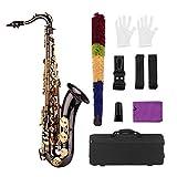 Muslady Bb Saxofón Tenor Cuerpo de Latón Negro Niquelado Llaves Doradas Instrumento de Viento de Madera con Estuche Guantes Paño de Limpieza Cepillo Correas de Cuello de Saxofón