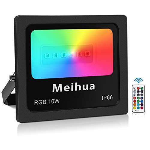 Foco RGB Led 10W, MEIHUA Foco 13 Colores Control Remoto