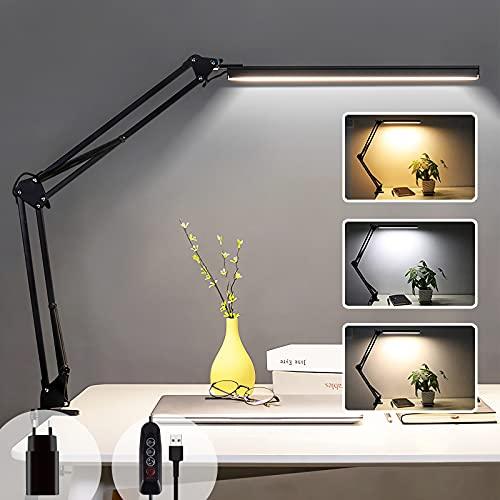 Lampe de Bureau LED à Pince, Lampe de Lecture Architecte 14W, 3 Couleur et 10 Intensité Variable, Lampe de Table USB avec Protection Oculaire, Lampe de Chevet Enfant Pliable, Noir