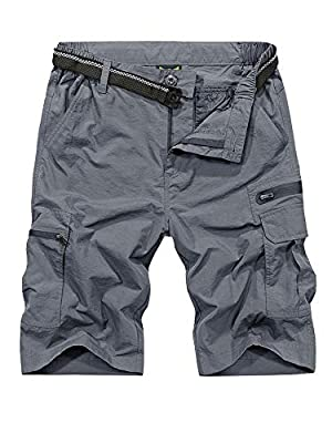 Jessie Kidden Mens Outdoor Casual Expandable Waist Lightweight Water Resistant Quick Dry Fishing Hiking Shorts #6222-Grey,32