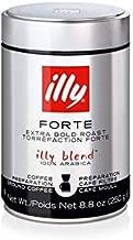 illy Coffee, Drip Ground, Forte, Extra Dark Roast, 100% Arabica Bean Bold Signature Italian Blend, Premium Gourmet Roast, Brewed, Drip, French Press, Cold Brew Coffee, Pressurized Fresh 8.8 Ounce Tin
