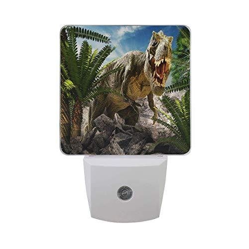 LINGF Nachtlicht Palmenblätter Dinosaurier Tier, sensor automático LED Nachtlicht Lampe Down to Dusk Plug-in Glühbirne für Kinder Jungen Mädchen Erwachsene Zimmer Flur, 2er paquete
