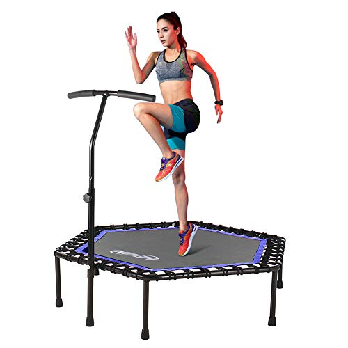 """Newan Trampoline, 48"""" Mini Trampoline with Adjustable Handrail, Fitness Rebounder Trampoline Indoor for Adults, Silent and Safe Bungee Rope System - Max Limit 330 lbs"""