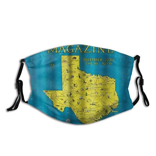 AIMILUX Gesichtsbedeckung,Nature Magazine Detaillierte Karte des Bundesstaates Texas mit malerischen Sehenswürdigkeiten,Wiederverwendbar Winddicht Staubschutz Mund Bandanas Outdoor Mit 2 Filtern