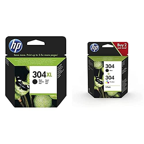HP 304XL Cartouche d'encre Noire Grande capacité Authentique (N9K08AE) & 304 Pack de 2 Cartouches d'encre Noire et Trois Couleurs Authentiques (3JB05AE)
