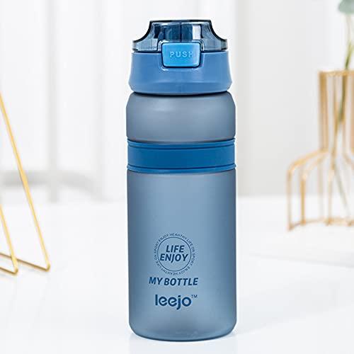 jwj Botella de agua deportiva de 6 colores de material portátil con pajita para deportes al aire libre, fitness, botellas de plástico duraderas para deportes (capacidad: 601 700 ml, color: azul)