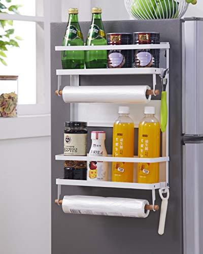 Amazeus Fridge Magnetic Rack, Heavy Duty Multipurpose Side Hanger Shelf Storage Organizer for Refrigerator with Napkin Paper Towel Holder with Hooks, Plastic Bottle Holder, Black