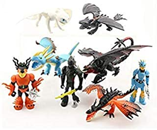 """Set of 8 pcs How to Train Your Dragon, 1.97"""" ~3.35"""" (5-8.5 cm) Tall Cartoon Figures Toys Dolls, for Night Fury Toothless Party Themed Decorations, Birthday Party Cake Decorations New 2019 Edition"""