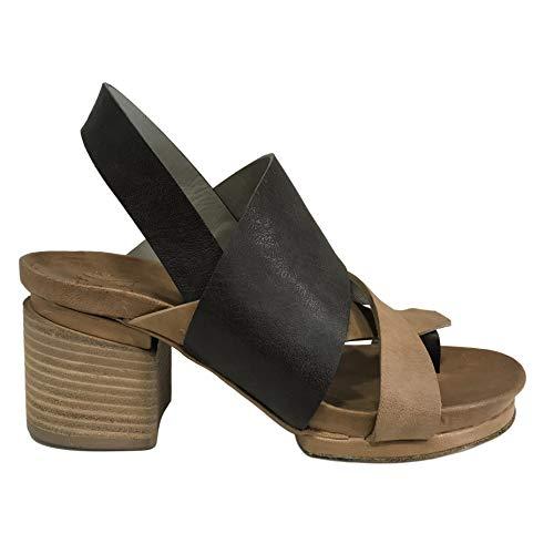 IXOS Sandale Glattleder Damen mit Flip Flops braun/Leder Art X17E15106 Made in Italy (Absatzhöhe; cm 6, Plateau: cm 2) (36 EU)