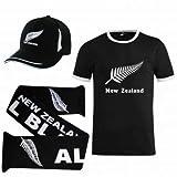 New Zealand Ensemble cadeau comprenant un t-shirt, une écharpe et une casquette pour les fans