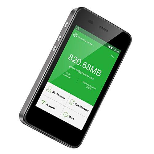 GlocalMe G3 4G LTE Mobiler WLAN Router, mit 1GB globalen Daten und 8GB EU Daten, Keine SIM-Karte nötig, Power Bank 5300 mAh Internationaler Hotspot für 144 Länder (Schwarz)
