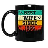 N\A Vintage Best Wife Since 1966 Sposato Anniversary Celebration Tazza in Ceramica Tazze da caffè grafiche Tazze Nere Tazze da tè novità Personalizzata 11 Oz