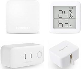 SwitchBot スイッチボット 4個セット スマートホーム 学習リモコン – Alexa グーグルホーム IFTTT イフト Siriに対応 (1 Hub Mini + 1 温湿度計 + 1 SwitchBot + 1 プラグ)