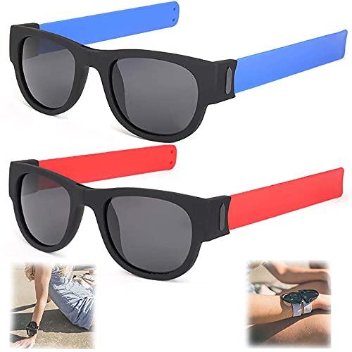 WBias&Belief 2 Paquetes Brazalete Plegable Gafas De Sol,Gafas De Sol Polarizadas Aqua Silver, Gafas de Sol Deportivas para Montar, Gafas Oscuras De Muñeca,Gafas De Sol para Hombres Y Mujeres,C