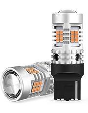 OXILAM T20シングル, LED ウインカー アンバー キャンセラー内臓 7440 ハイフラ防止 ウインカーバルブ 超拡散レンズ26連付き 航空用アルミヒートシンク ほぼ純正サイズ DC12V車用 3020SMD 無極性 1年保証 2個入