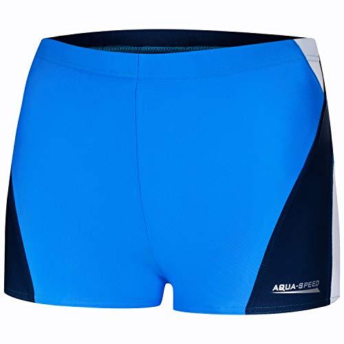 Aqua Speed Kurze UV Badehosen blau Herren + gratis eBook | Badepants Männer | Boxer Schwimmhose | Wassersport | Alex, Gr. M, 254 Blue White Navy