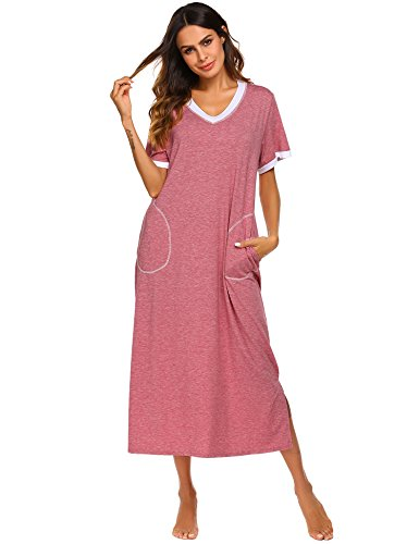 Ekouaer Women Night Shirt Short Sleeve Sleepwear (Red, Large)