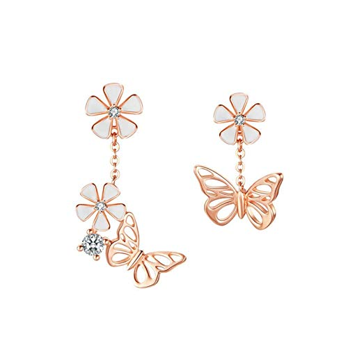 HMMJ Women Asymmetric S925 Sterling Silver Hypoallergenic Forest Series Butterfly Flower Rose Gold Plated Stud Earrings