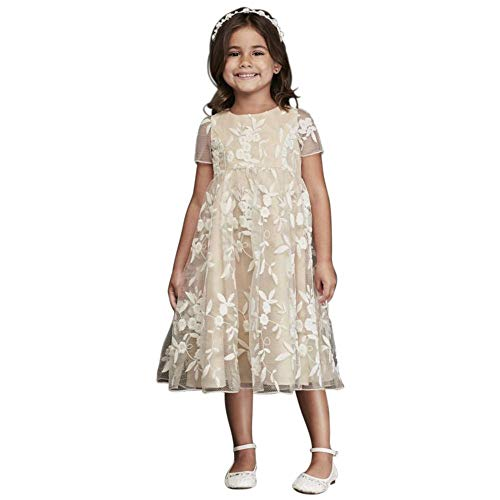 Cap Sleeve Embroidered Tea-Length Flower Girl/Communion Ball Gown Style CR1394, Ivory, 8