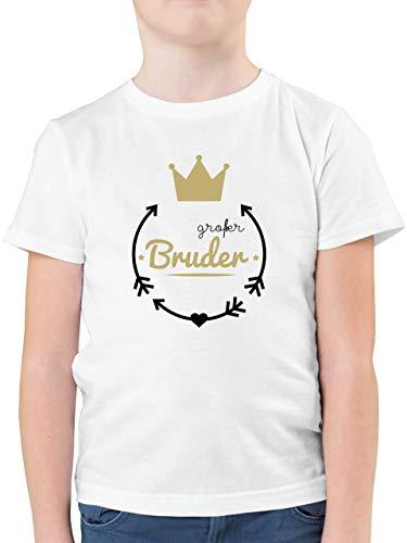 Geschwisterliebe Kind - Großer Bruder - Krone - 104 (3/4 Jahre) - Weiß - großer Bruder - F130K - Kinder Tshirts und T-Shirt für Jungen