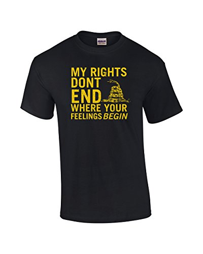 Rights Don't End Where Feelings Begin 2nd Amendment Adult Short Sleeve T-Shirt-Black-XXL
