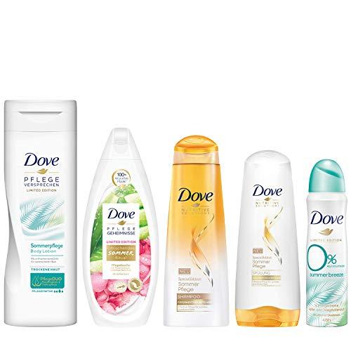 Dove Limited Edition Sommer Pflegeset mit Body Lotion (250ml), Pflegedusche (250ml), Deospray ohne Aluminium (150ml), Shampoo (250ml) und Spülung (200ml) (5 Produkte)