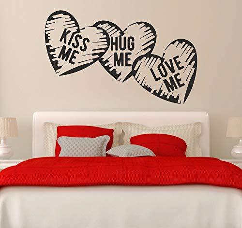 Adhesivo de pared, 57x93cm, corazones de amor, besame, abrázame, ámame, habitación de matrimonio, dormitorio, calcomanía de vida, vinilo extraíble, mural artístico