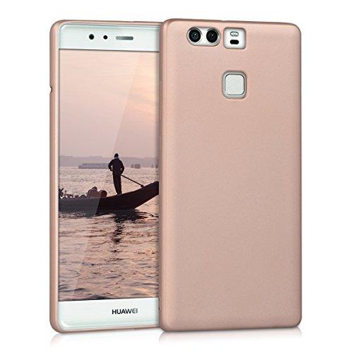 kwmobile Coque Compatible avec Huawei P9 - Housse de téléphone en Silicone Or Rose métallique