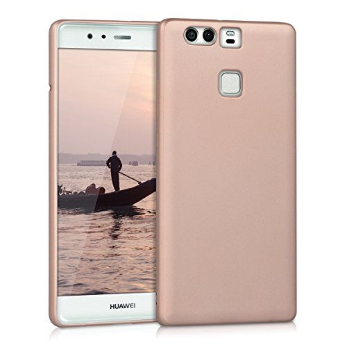 kwmobile Funda Compatible con Huawei P9 - Carcasa móvil de Silicona - Protector Trasero en Oro Rosa Metalizado