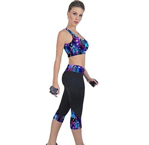 Tongshi Los pantalones de cintura alta Fitness Yoga impresión tramo recortada Leggings (Negro, M)