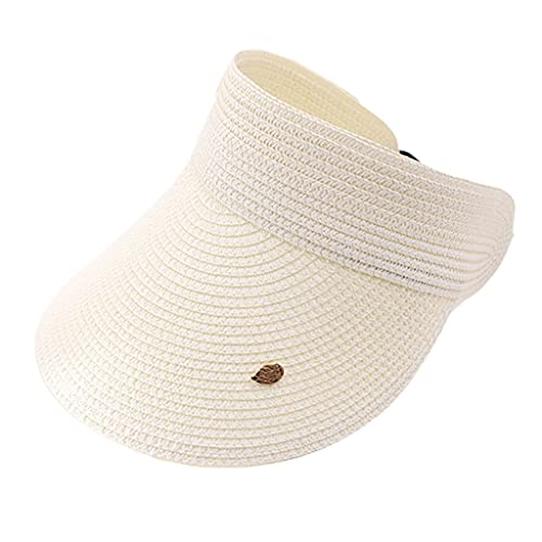 RK-HYTQWR Women Summer Woven Straw Empty Top Sun Hat Visors Wide Brim Leaves Decor Solid Color Uv Protection Roll-Up Beach Cap,Cycling Empty Cap,Beige